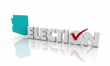 Arizona AZ Election Voting State Map Word 3d Illustration Stock Photo