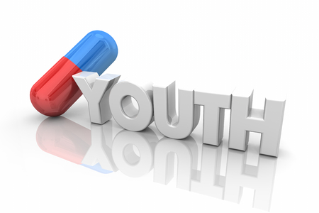 Youth Medication Vitamins Supplements Stay Young Word 3d Illustration