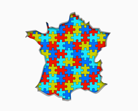 France FR Puzzle Pieces Map Working Together 3d Illustration