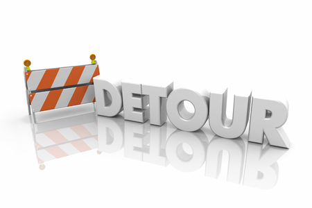 Detour Barricade Road Construction New Route Word 3d Illustration Stockfoto