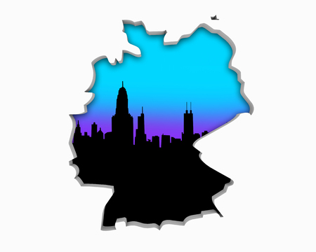 Germany DE Skyline City Metropolitan Area Nightlife 3d Illustration