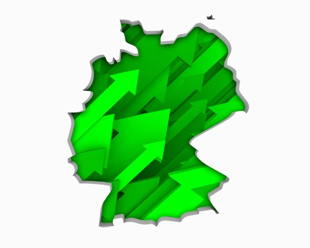 Germany DE Arrows Map Growth Increase On Rise 3d Illustration