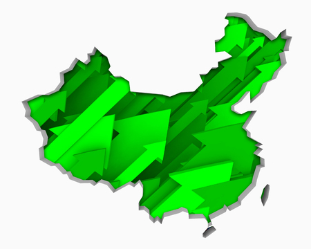 China Arrows Map Growth Increase On Rise 3d Illustration 版權商用圖片