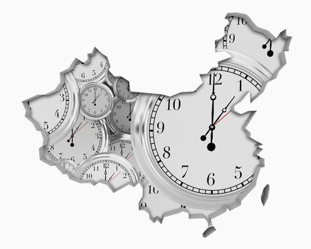 China Clock Time Passing Forward Future 3d Illustration Stock Photo