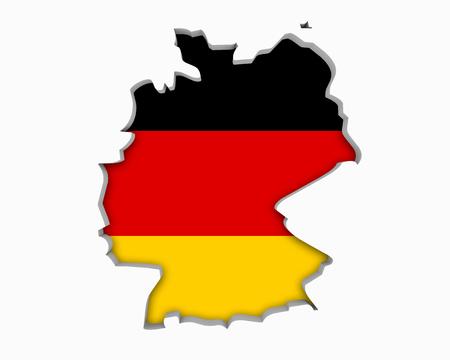 Germany DE German Flag Map 3d Illustration