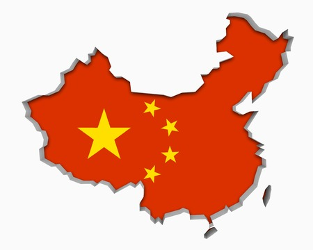 China Red Flag Map 3d Illustration Stock Photo