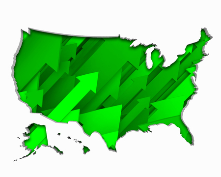 United States of America USA Arrows Map Growth Increase On Rise 3d Illustration 版權商用圖片 - 100622747