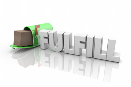 Fulfill Mailbox Package Shipping Delivery Word 3d Illustration