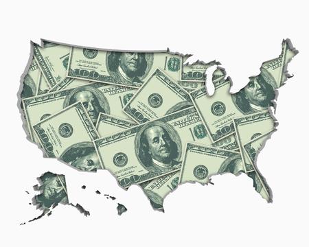 United States of America USA Money Map Cash Economy Dollars 3d Illustration