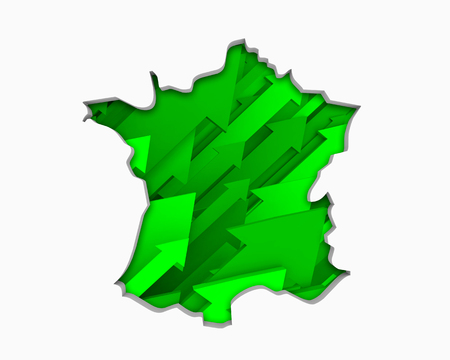 France FR Arrows Map Growth Increase On Rise 3d Illustration