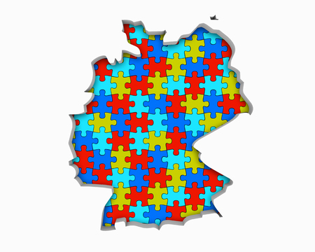 Germany DE Puzzle Pieces Map Working Together 3d Illustration