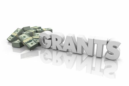 Gewährt Geld finanzielle Unterstützung Endowment Word 3d Illustration Standard-Bild