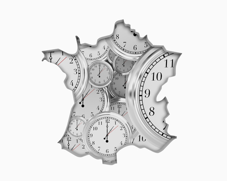 France FR Clock Time Passing Forward Future 3d Illustration
