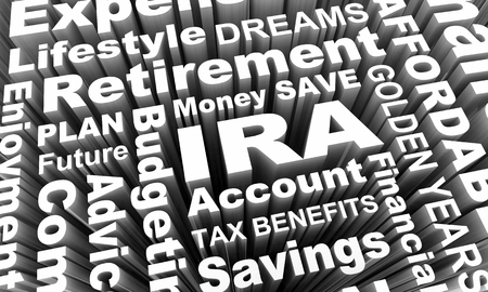 IRA Individual Retirement Account Savings Plan Word Collage 3d Illustration Imagens - 100623636