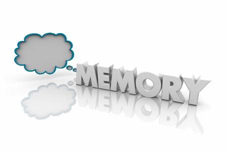 Memory Remember Memorize Thought Cloud Word 3d Illustration Stok Fotoğraf - 100623638
