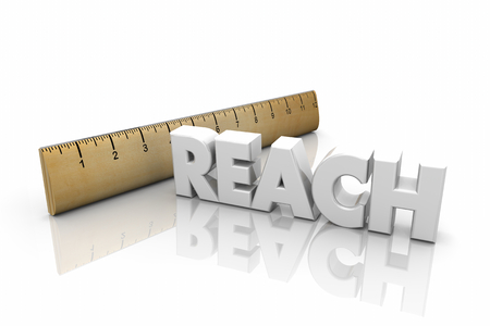 Reach Ruler Measurement Far Distance Word 3d Illustration Stock Photo