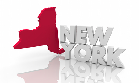 New York NY Red State Map Word 3d Illustration Stock Photo