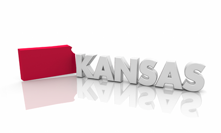Kansas KS Red State Map Word 3d Illustration