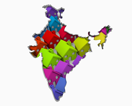 India Asia Indian Homes Homes Map New Real Estate Development 3d Illustration Stock Photo