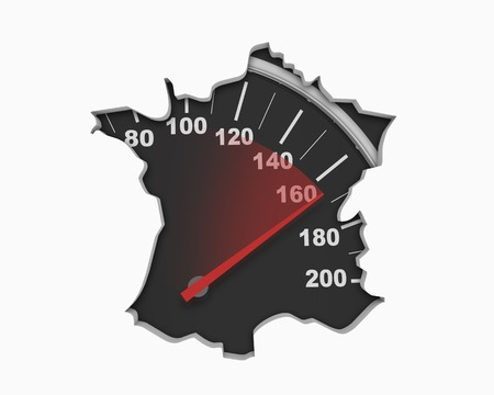 France FR Speedometer Map Fast Speed Competition Race 3d Illustration