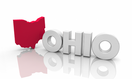 Ohio OH Red State Map Word 3d Illustration 版權商用圖片