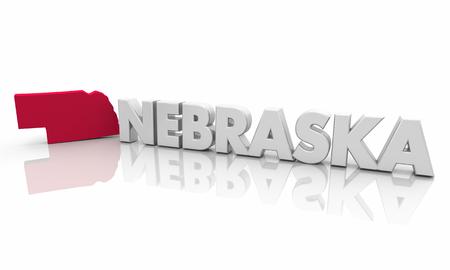 Nebraska NE Red State Map Word 3d Illustration Stockfoto