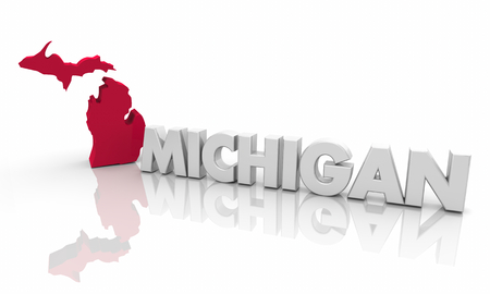 Michigan MI Red State Map Word 3d Illustration Stockfoto