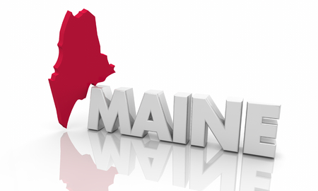 Maine ME Red State Map Word 3d Illustration