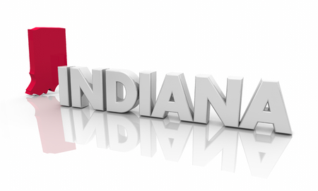 Indiana IN Red State Map Word 3d Illustration Stock Photo