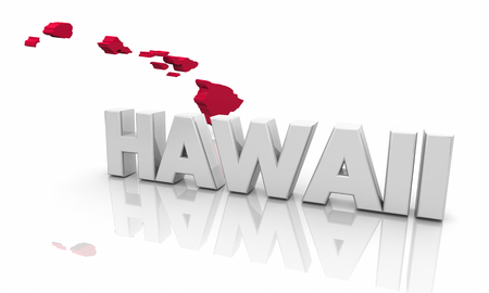 Hawaii HI Red State Map Word 3d Illustration