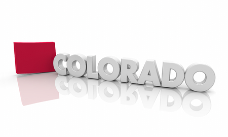 Colorado CO Red State Map Word 3d Illustration