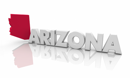 Arizona AZ Red State Map Word 3d Illustration Stockfoto