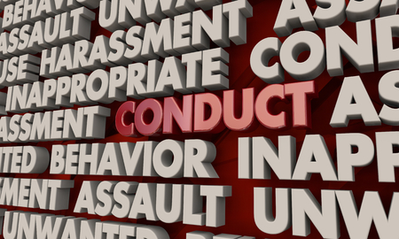 Conduct Behavior Assault Harassment Word Collage 3d Illustration
