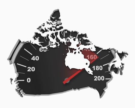 Canada Speedometer Map Fast Speed Competition Race 3d Illustration Stok Fotoğraf