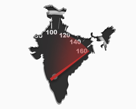 India Asia Indian Speedometer Map Fast Speed Competition Race 3d Illustration