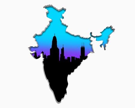 India Asia Indian  Skyline City Metropolitan Area Nightlife 3d Illustration