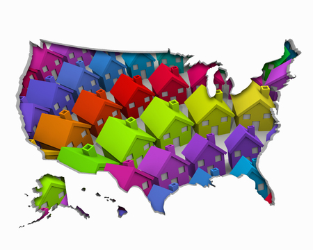 United States of America USA Homes Homes Map New Real Estate Development 3d Illustration Stock Photo