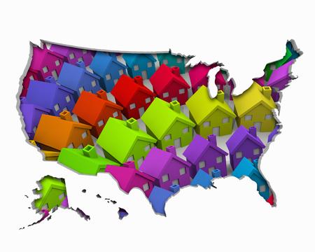 United States of America USA Homes Homes Map New Real Estate Development 3d Illustration Stockfoto