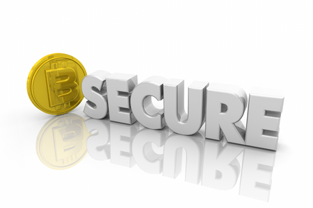 Bitcoin Cryptocurrency Digital Money Word 3d Illustration Banco de Imagens