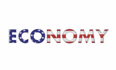 Economy USA United States America Economic Flag Word 3d Illustration