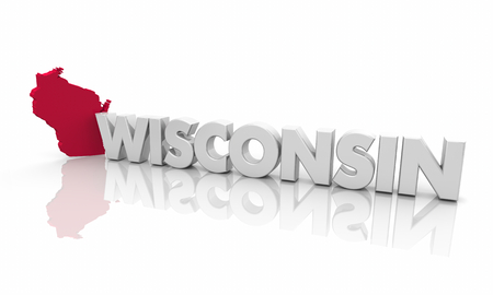 Wisconsin WI Red State Map Word 3d Illustration Stockfoto