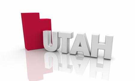 Utah UT Red State Map Word 3d Illustration 版權商用圖片