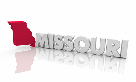 Missouri MO Red State Map Word 3d Illustration Banco de Imagens