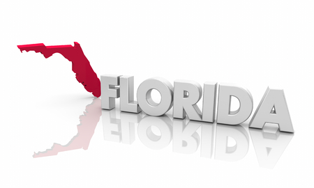 Florida FL Red State Map Word 3d Illustration