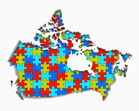 Canada Puzzle Pieces Map Working Together 3d Illustration