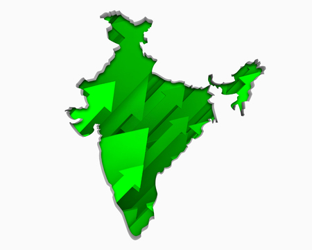 India Asia Indian Arrows Map Growth Increase On Rise 3d Illustration 版權商用圖片