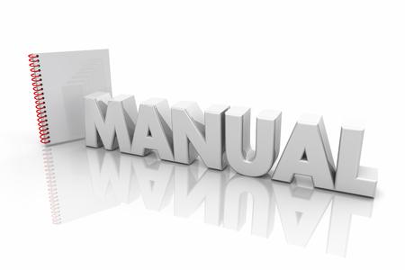 Manual Book Instructions Guide Directions Word 3d Illustration Banco de Imagens