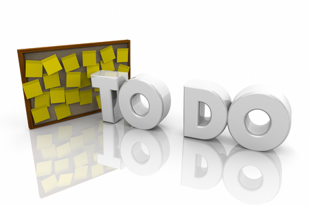 To Do Sticky Notes Bulletin Board Reminders Word 3d Illustration Stock Photo