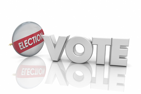 Vote Election Button Pin Campaigning Word 3d Render Illustration