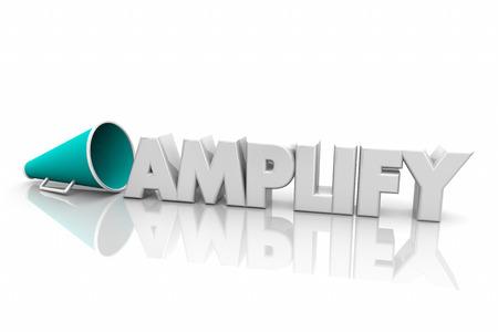 Amplify Increase Volume Louder Megaphone Bullhorn Word 3d Render Illustration Stock Photo